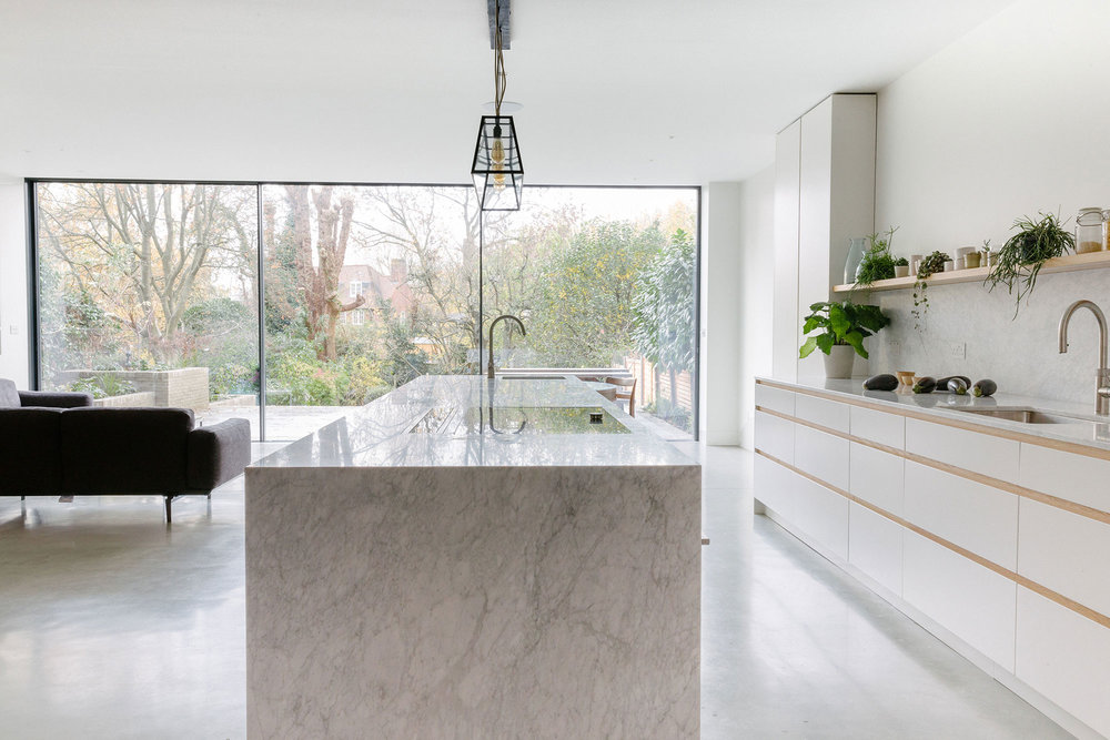 kitchen design, central table, minimalism, bespoke kitchens, west and reid