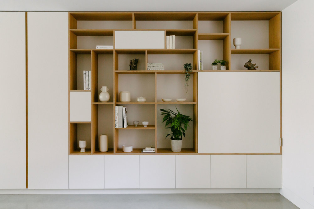 Bespoke kitchen london shelving unit birch plywood
