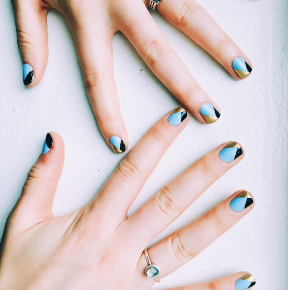 My nails after a trip to Van Court Studio, by @nailingitnyc