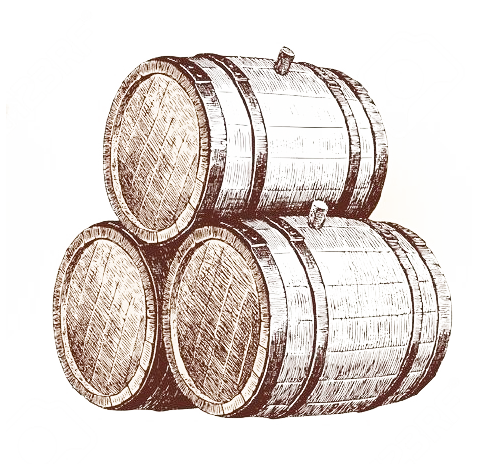 French and American oak barrels