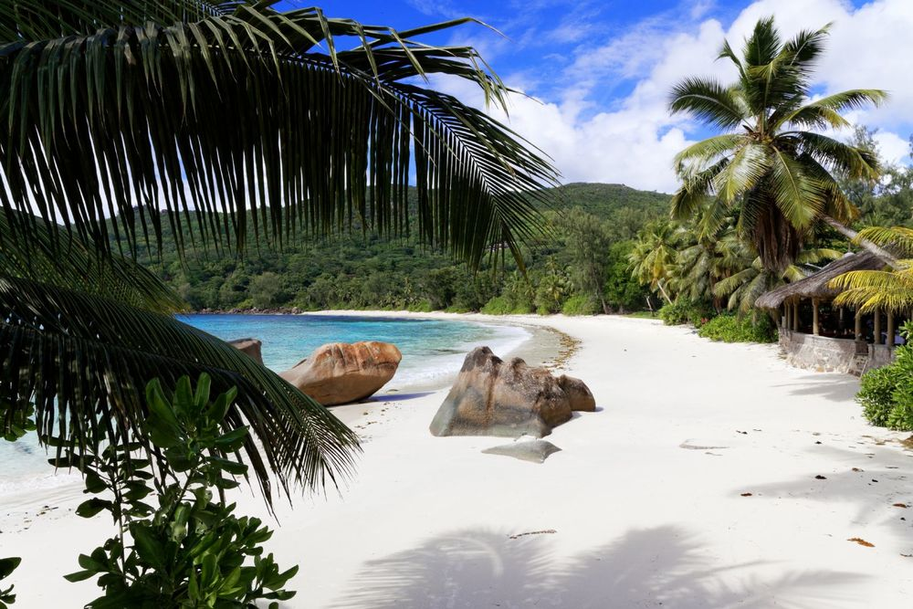Seychelles famous beach with views of granite boulders