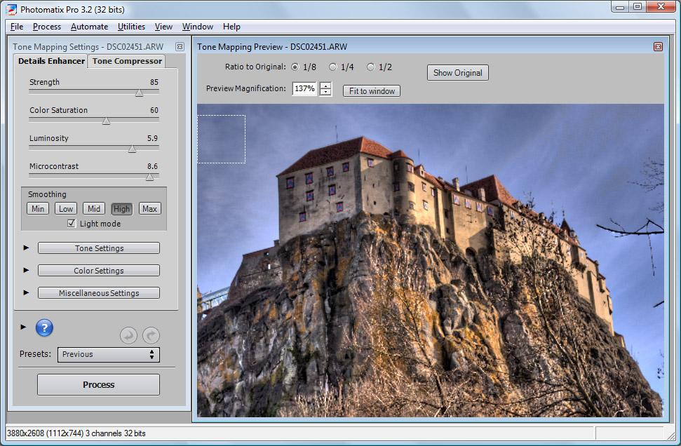 Bild: Raw-Datei in Photomatix öffnen