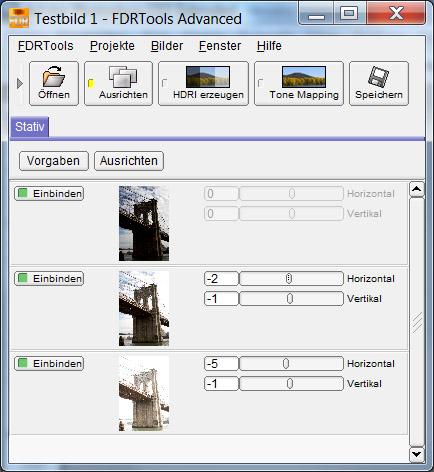FDRTools - Ausrichtung der Quellbilder