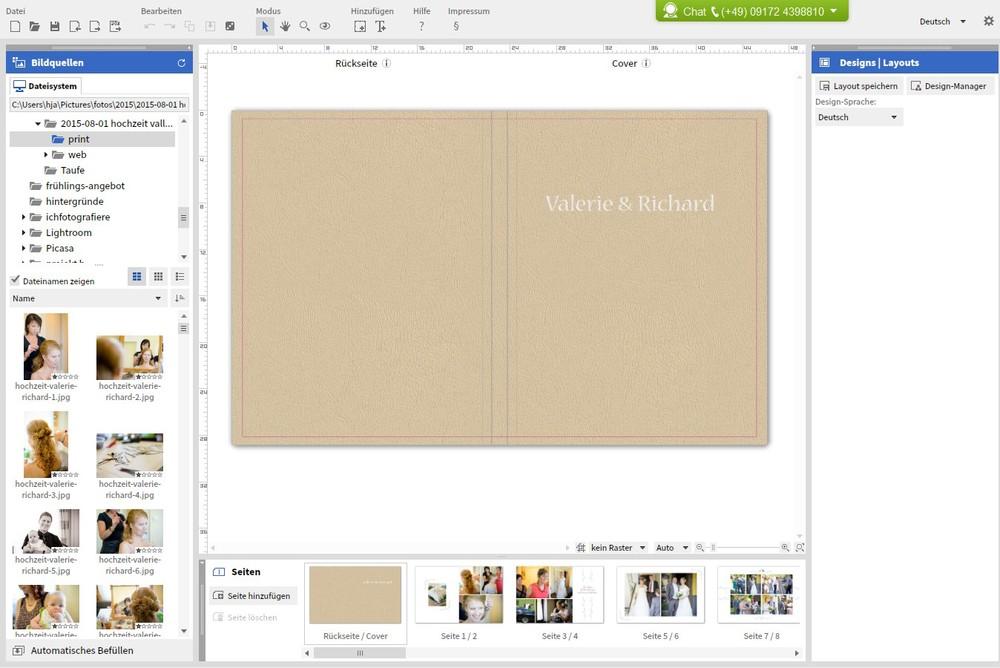 Die Saal Digital Software - so sieht's aus. Links die Bilderauswahl, in der Mitte der Editor und rechts weitere Einstellungen etc.