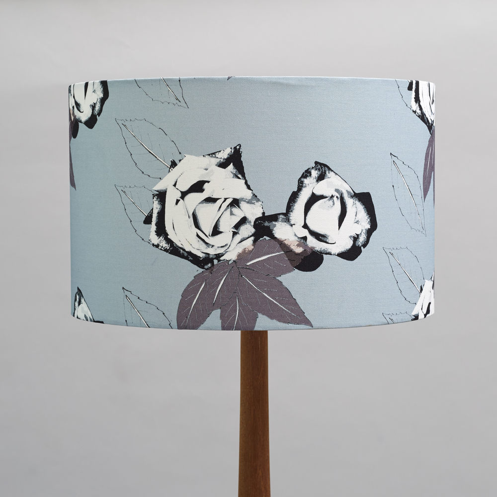 large lampshade in grey roses.jpg