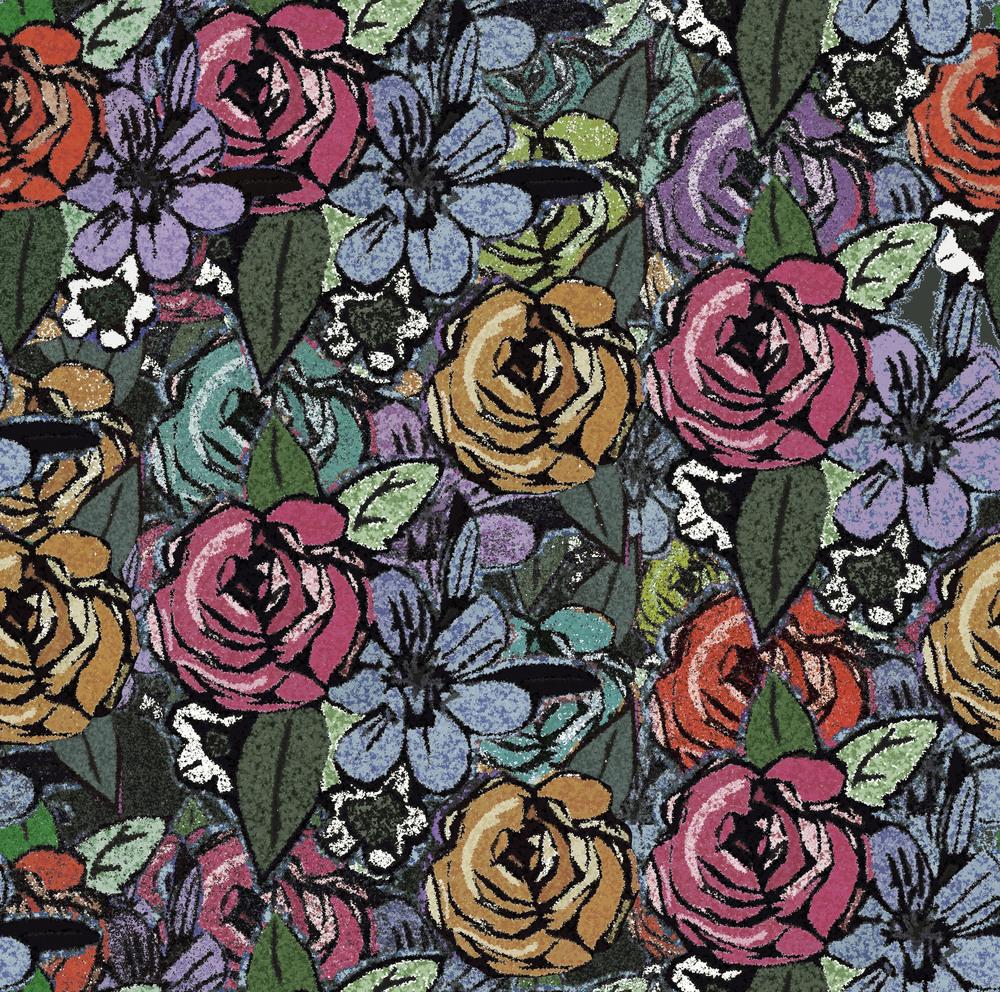 Garden flowers design pink