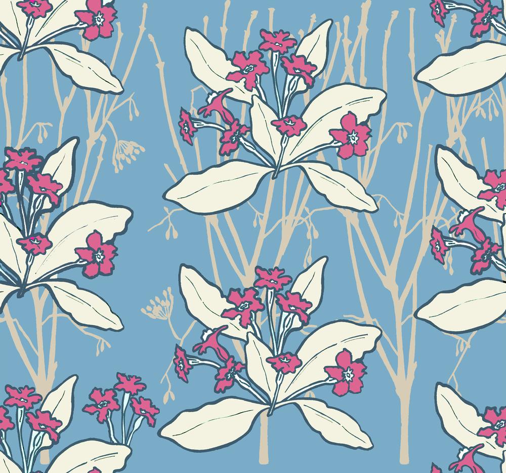 Primrose design blue