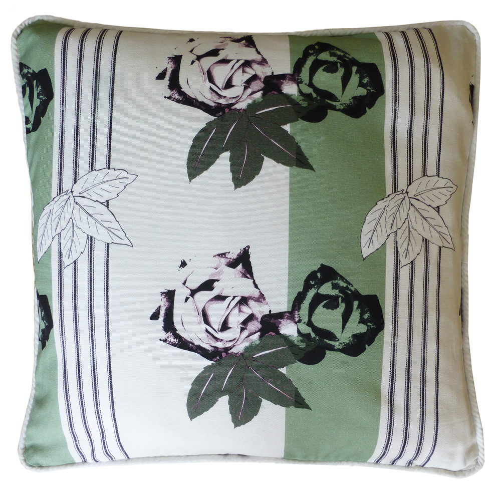 Cushion in roses with stripe design green