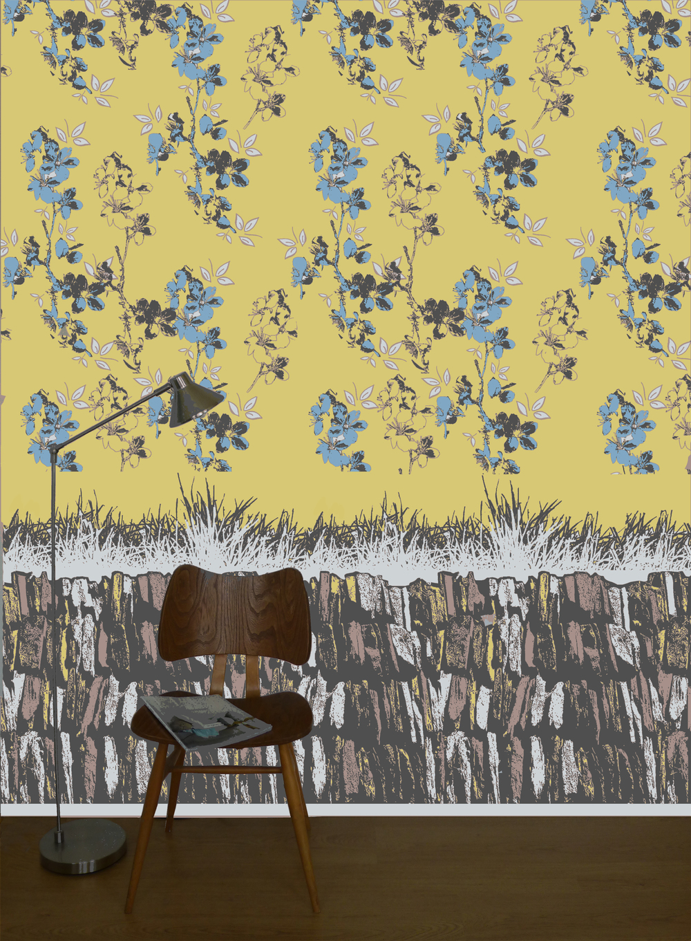 Blossom wallpaper mustard with slate design frieze