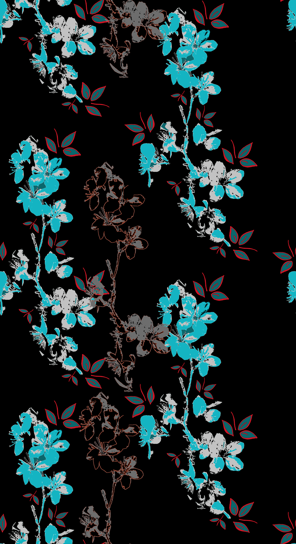 blossom design wallpaper black