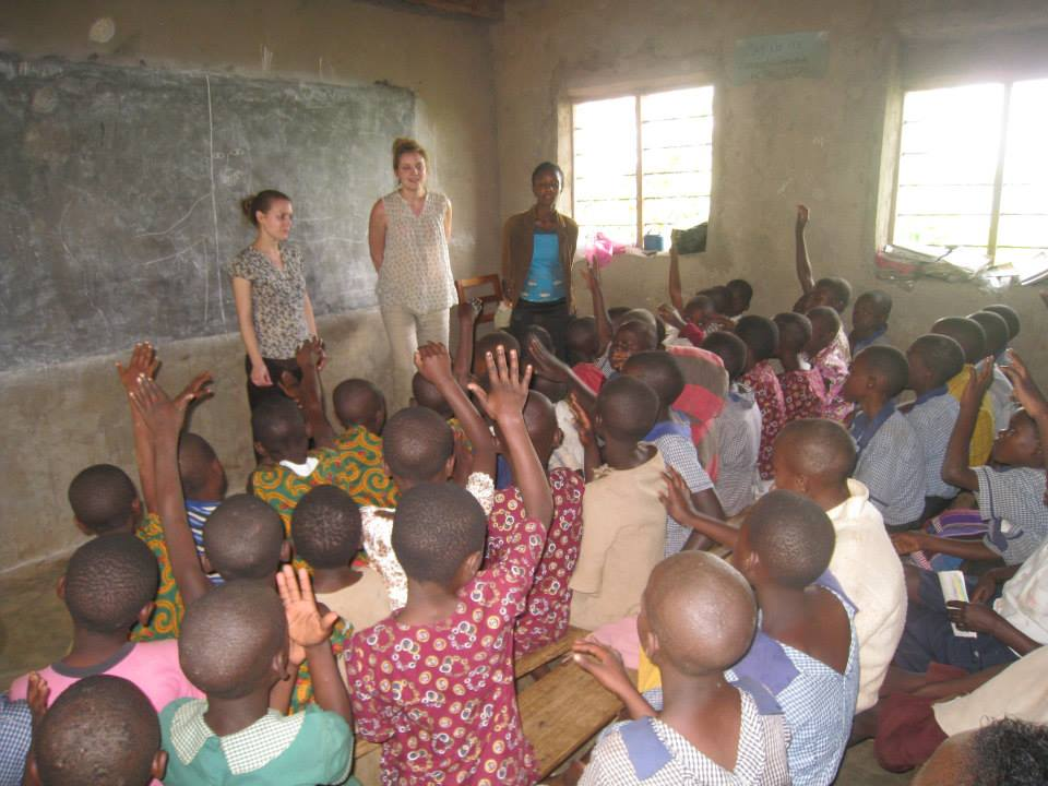Medical volunteers from the UK give health education talk to school next to rural clinic (photo credit Lisa Umphrey, 2013)
