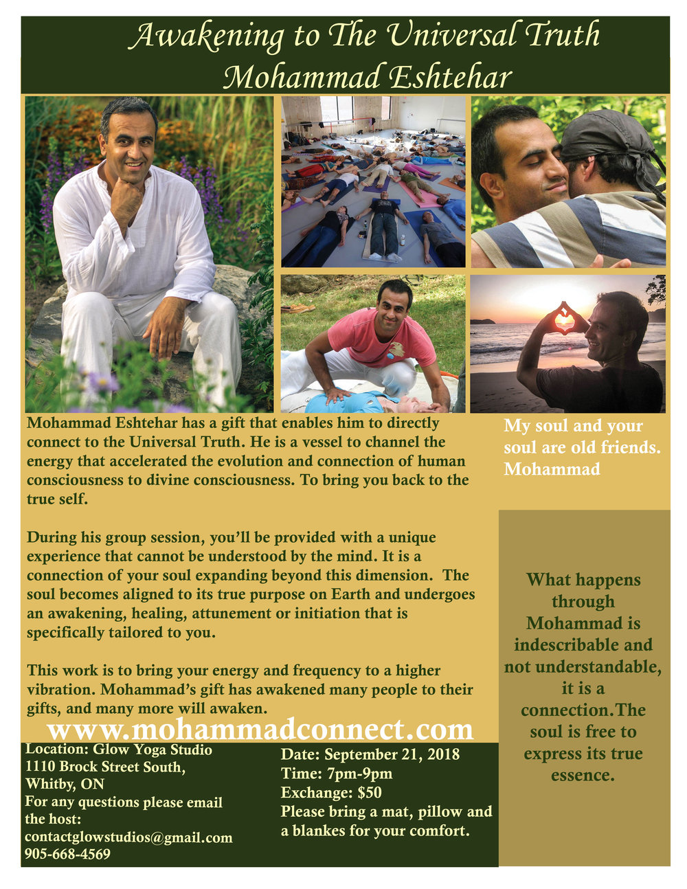 o reserve a spot for the event you can pay via Pay Pal please use the friends and family option: PayPal link:  http://paypal.me/Mohammadeshtehar   direct link to the webpage of the Glow Yoga event page:   http://glowyogastudio.ca/schedule/workshops/?options%5Bids%5D=668&options%5Bsite_id%5D=14292