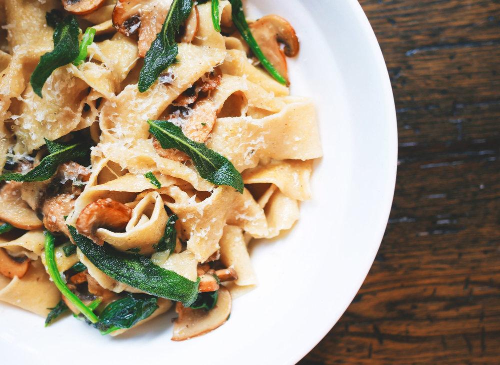 pasta wide noodle dish - healthy meal preparation