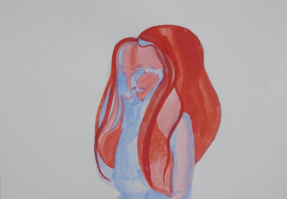 Bearded Venus   Acrylic ink on paper  20 x 30 cm