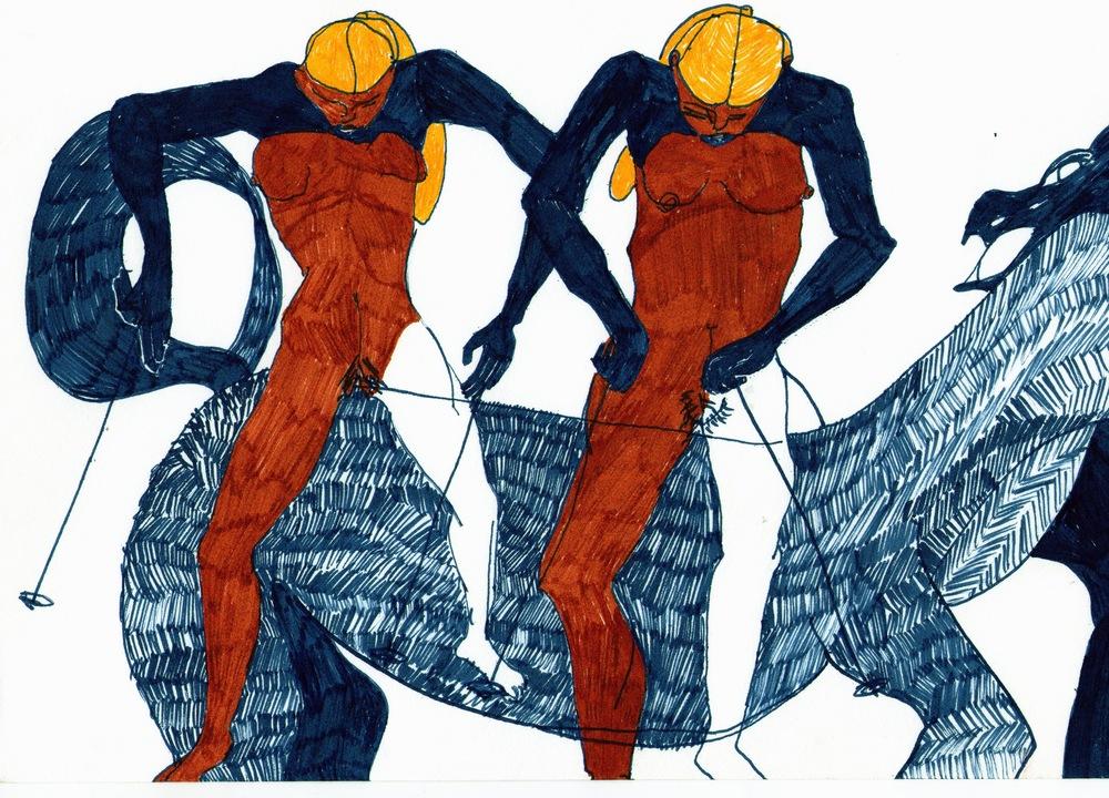 Spartan Competitors   Acrylic pen on paper  20 x 30 cm