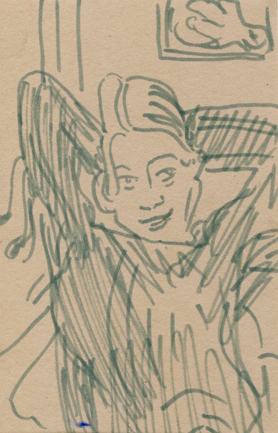 Immediately A Thousand Bluebirds Flew In And Tidied Your Hair   Pen on paper  12.5 x 8.5 cm