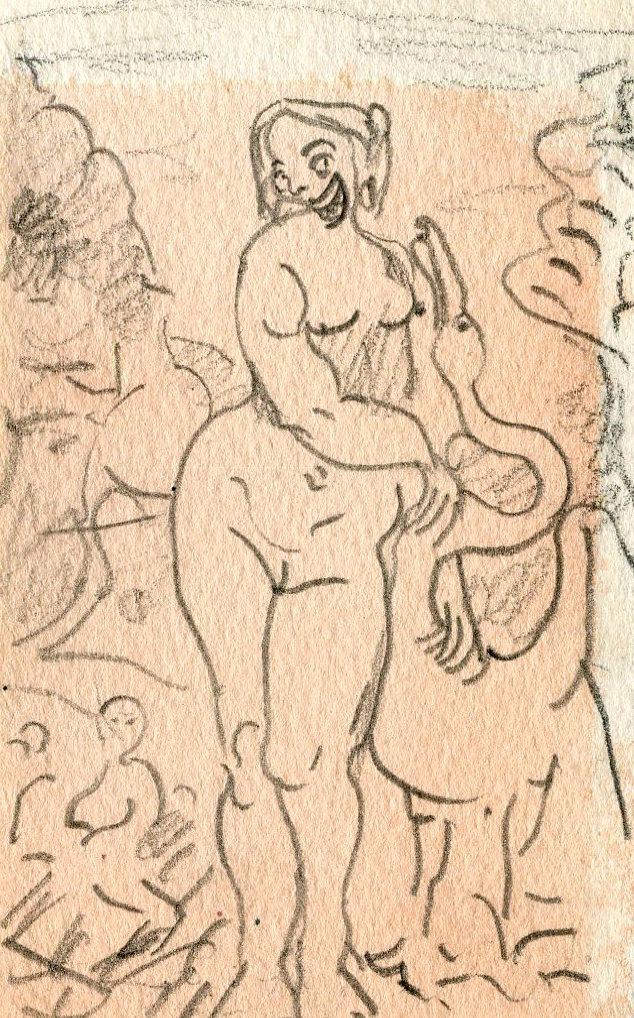Leda   Pencil on paper  11 x 7 cm