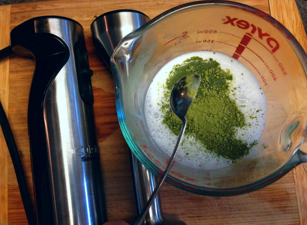 Add that matcha powder, then whiz! (Or shake)