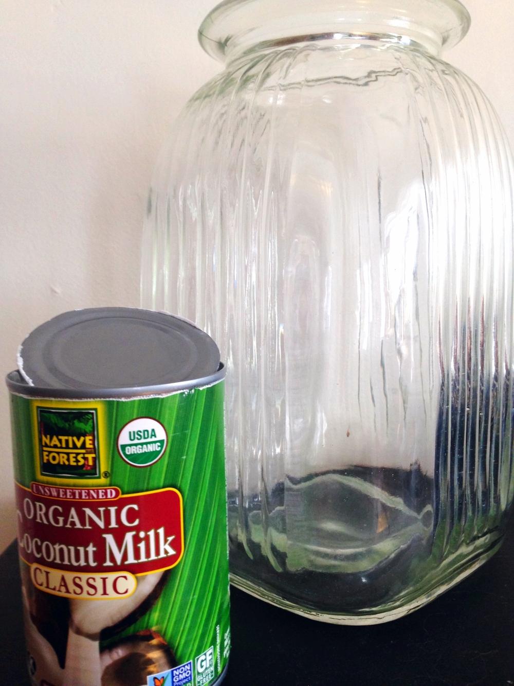 Native Forest coconut milk + big glass jar ready to mix!