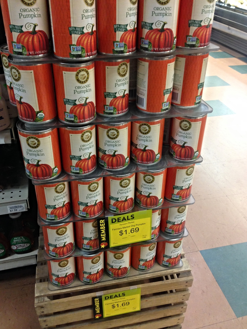 See? A tower of organic pumpkin puree, on sale for $1.69 each!