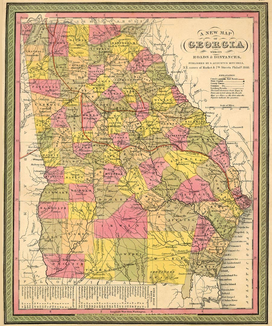 1846 Mitchell map of Georgia showing Flat Rock
