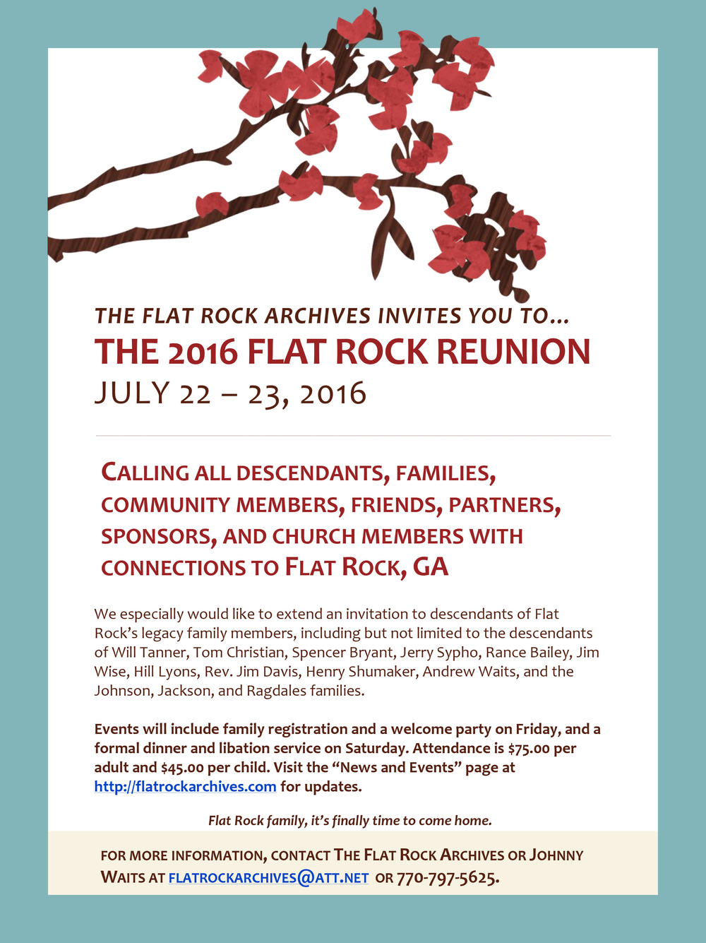 Flat Rock Archives - News and Events — Flat Rock Archives