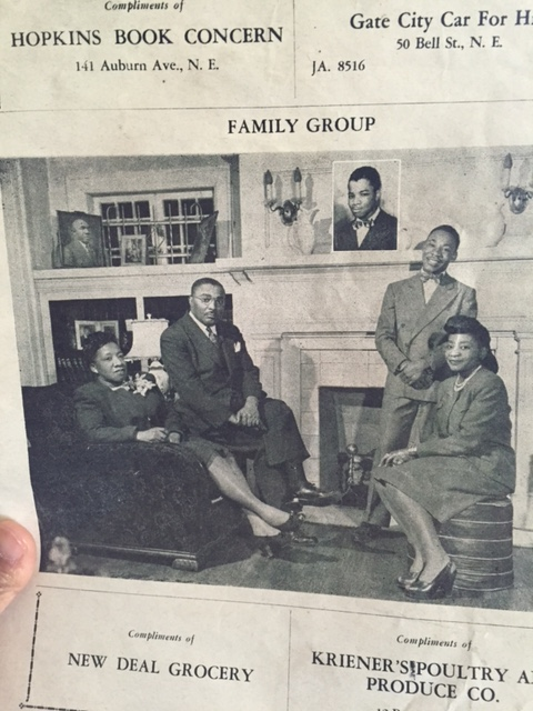 This is the 1947 church anniversary program for Ebenezer Baptist Church in Atlanta, GA. In this picture, we see Rev. Martin Luther King Sr. along with his wife, Albert Williams King, and two of his three children, Christine King and Martin Luther King Jr. This program is part of the Frankie Bates Hardy collection.