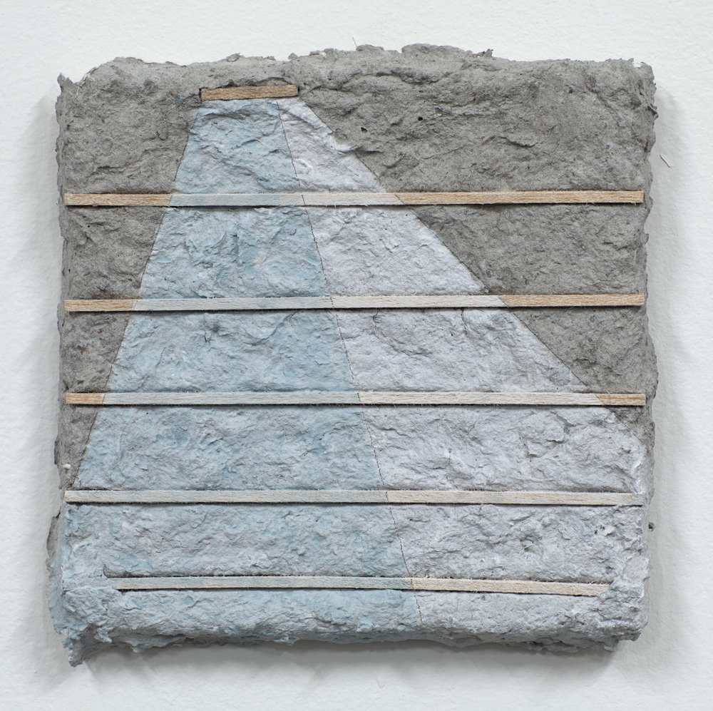 Lateral , Paper mache, wood, AquaResin, acrylic, and pencil, 7.5 in. x 7.25 in., 2019