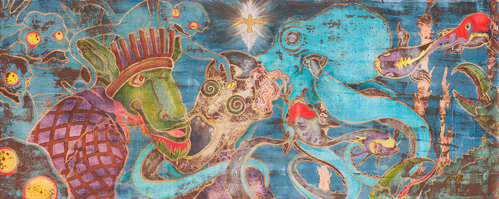 "Beware the Company You Keep  80"" x 36"" - Watercolor, Iridescent Acrylic, and Gold Leaf Enamel on Wood Panel $2,800 Unframed"