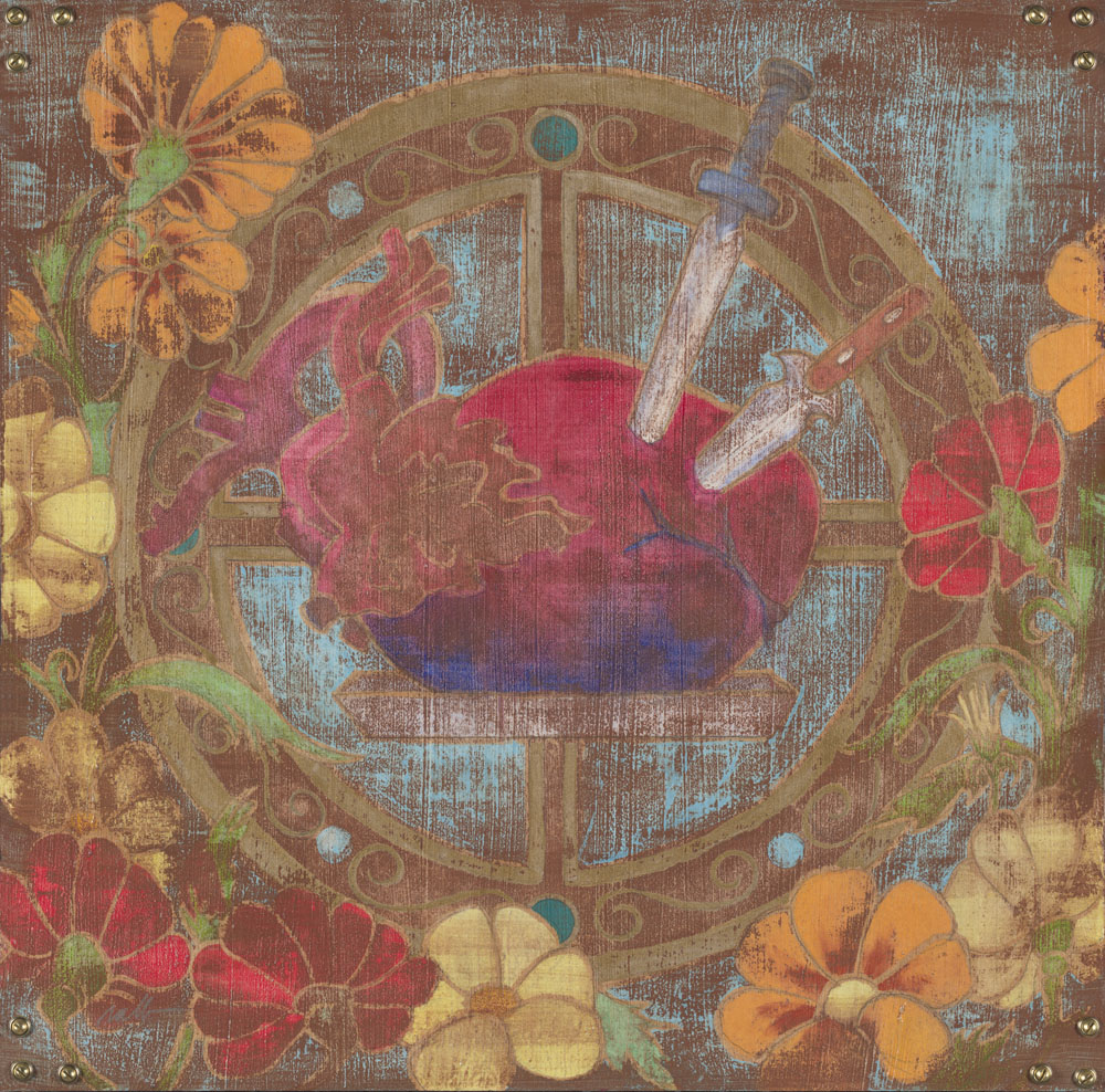 "Betrayed   24""x 24"" Watercolor and Gold Leaf on Hardwood Veneer  $1,800 Unframed"