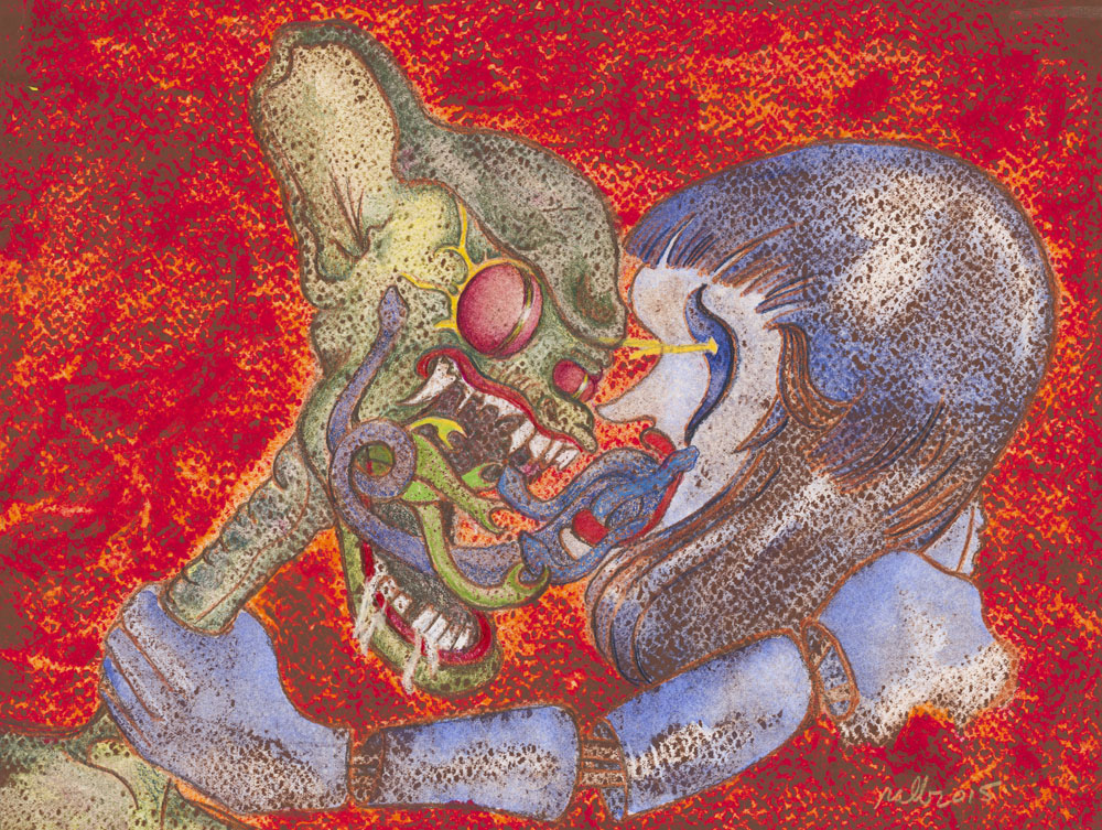 """The Argument  Mixed Media on Acid-Free Cotton Paper  Image Size: 12"""" x 9"""" - Framed Size: 18"""" x 15""""  $850 Framed"""