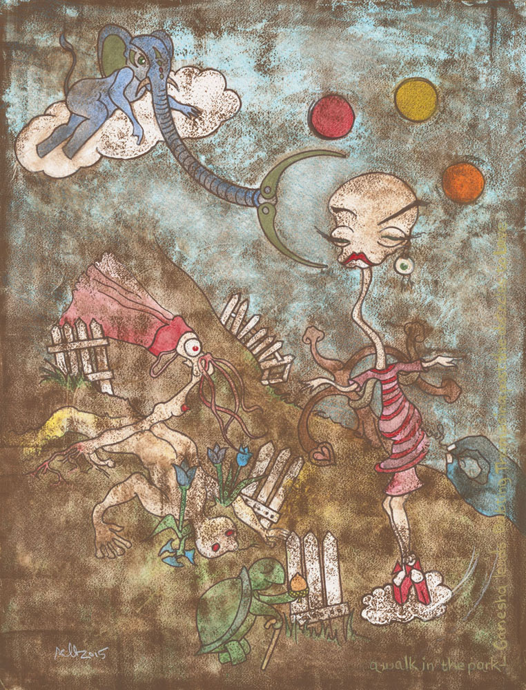 """A Walk in the Park - Ganesha Leads Doubting Thomasina Past the Obstacles to Love (SOLD)  Mixed Media on Acid-Free Cotton Paper  Image Size: 18"""" x 23.75"""" - Framed Size: 24.5"""" x 30.5"""""""