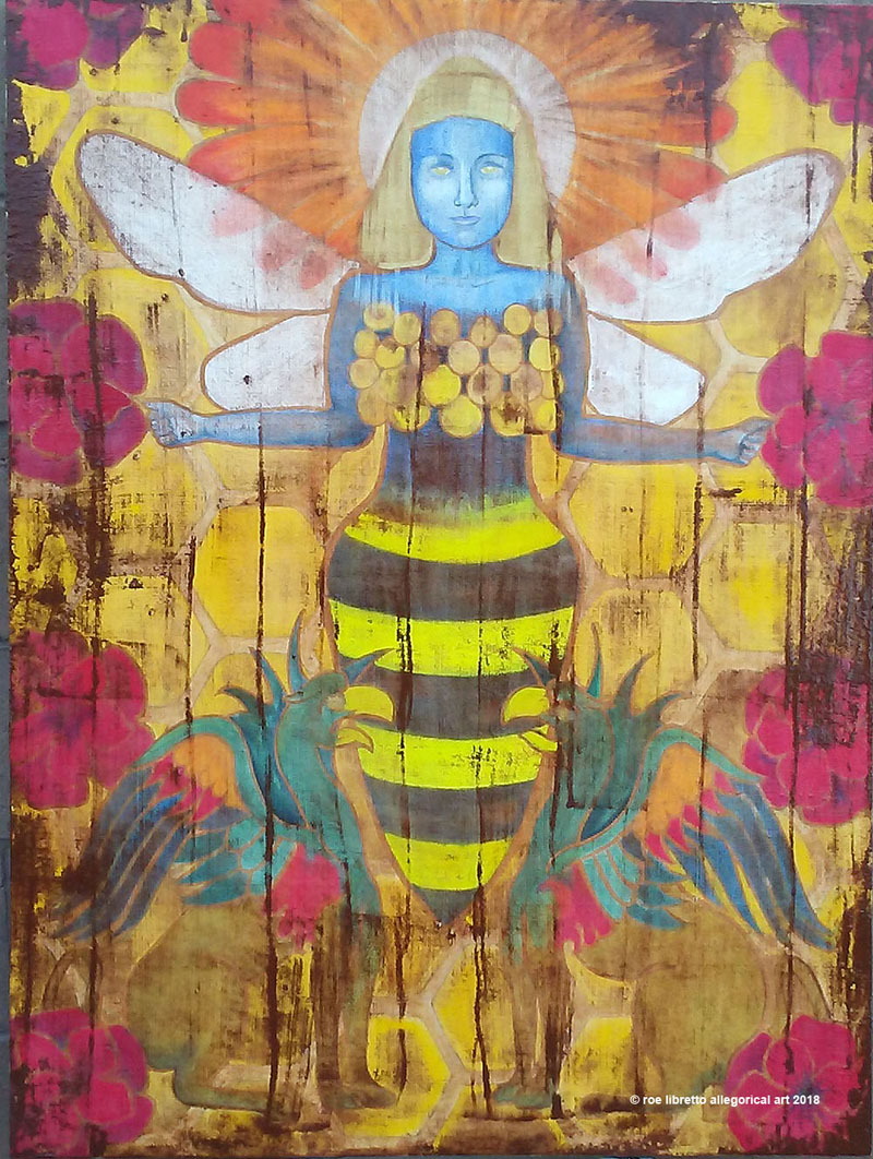 "This 30"" x 40"" watercolor on wood panel was created for the Bees and Bad Poetry event at Ghostwolf Gallery. The event is August 18 from 1 to 4 pm. Archival quality giclées are available upon request through my SHOP page."