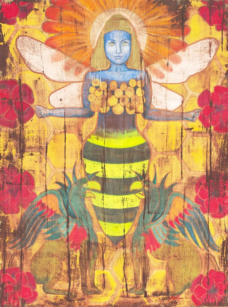 "Priestess of Ephesus  Watercolor and Gold Metallic Acrylic on Birch Panel  Image Size: 30"" x 40""   $1,800"