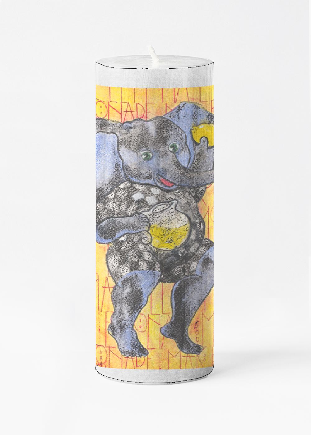 "Ganesha's Advice Candle   Illuminate your home with our unscented Large Accent Candle. As the candle burns, light shines through the custom-printed wax wrapping instantly elevating any living space. Elegant and fragrance-free, it also makes a charming and thoughtful gift.  Dimensions: 3"" wide x 9"" tall   $45.00 USD Available at: Ghostwolf Gallery, Albuquerque"