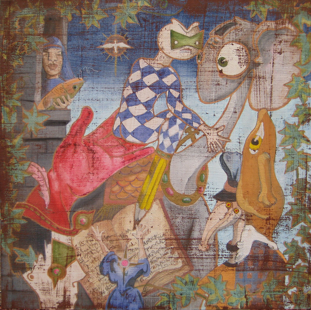 """The Fool's Journey  24""""x 24"""" Watercolor and Gold Metallic Acrylic on Birch Panel $1,800 Unframed"""