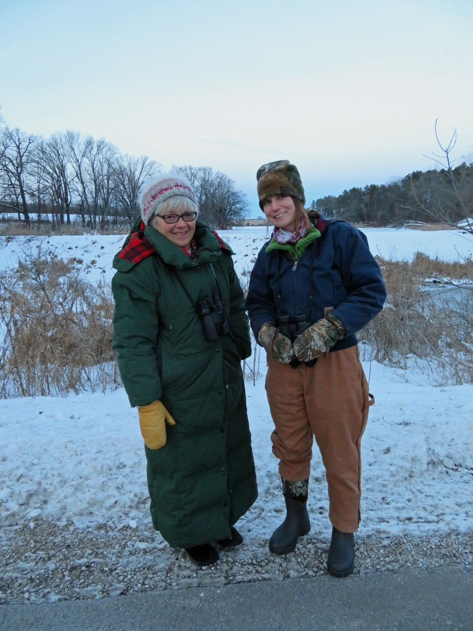 Pardeeville Christmas Bird Counters Jane Considine (left) and Maddie Dumas (right) bundle up during their 2016 count.