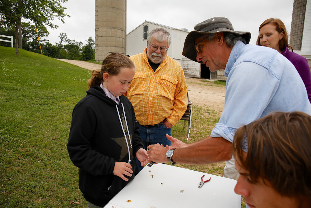 Dick Nickolai (blue denim) shows Annie, granddaughter of MAS board member Topf Wells (orange), how bands fit around the legs of purple martin chicks. Photo by Arlene Koziol.