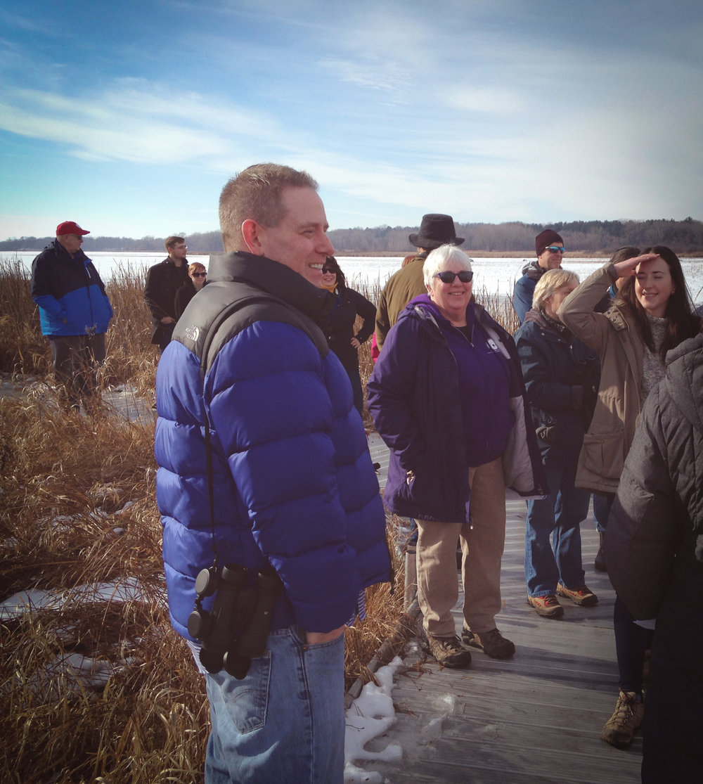 Drew Cashman is Madison Audubon's keystone volunteer this month. In this photo, Drew is leading a training for Bald Eagle Nest Watch with volunteers who will observe bald eagle nests this winter, spring, and summer. MAS Photo
