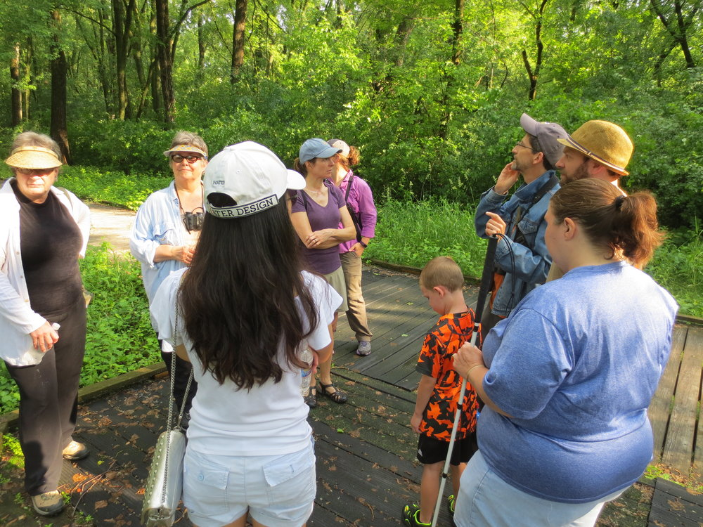 Kerry leads one of the small groups through Pheasant Branch Conservancy to listen for and learn a variety of bird calls. MAS Photo