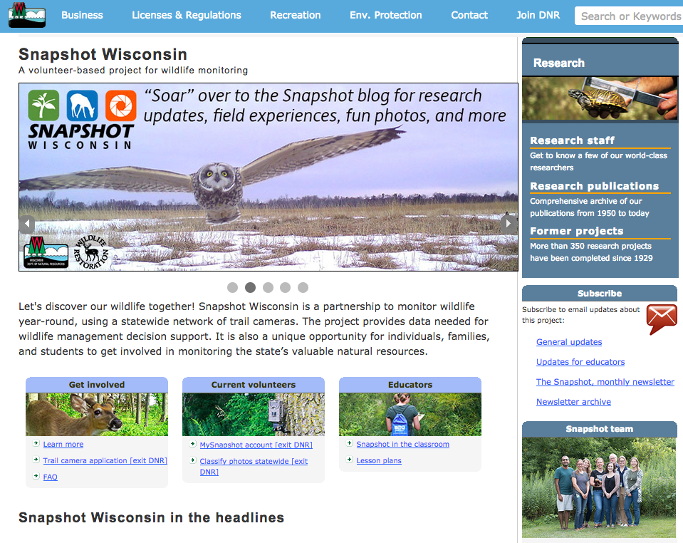 Learn more at the Snapshot Wisconsin website:  dnr.wi.gov/topic/research/projects/snapshot