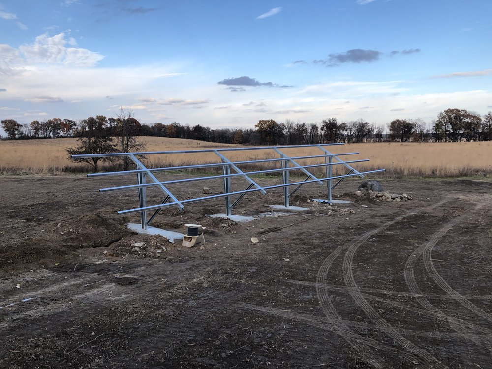 Frames for the solar panels are in, as of October 29, 2018. Photo by Roger Packard