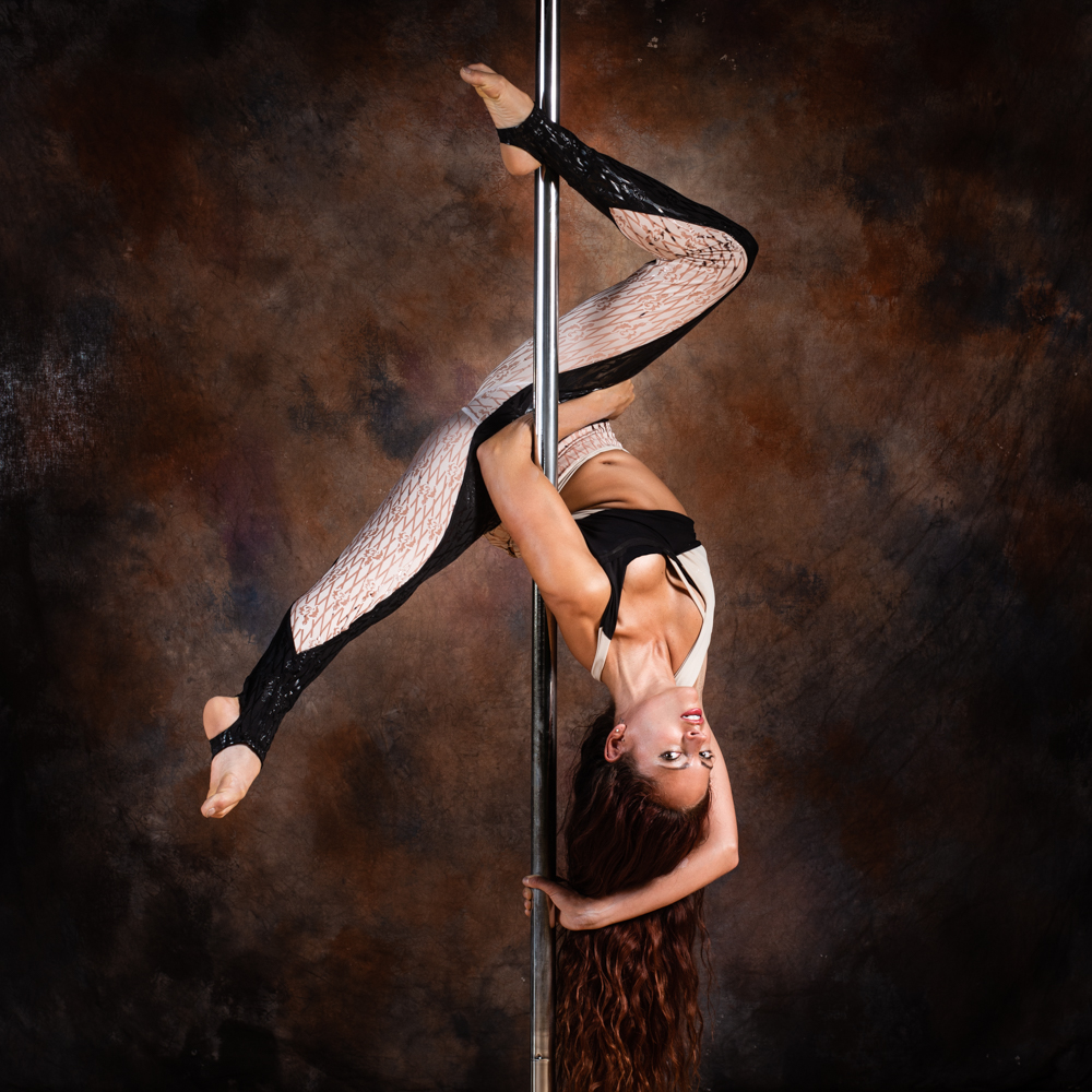 Photographer, Abigail, often takes self portraits on the pole.