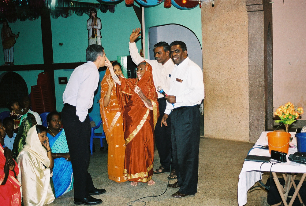 This lady was blind but received sight in a crusade in India.