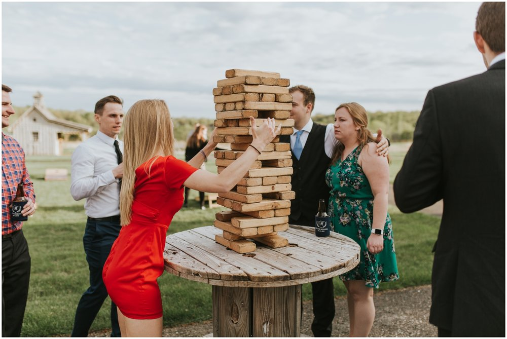 wedding guests playing jenga