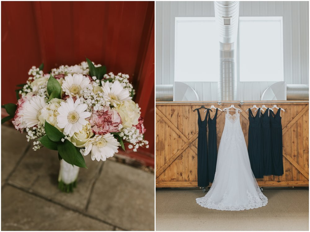 bridal bouquet and bride gown