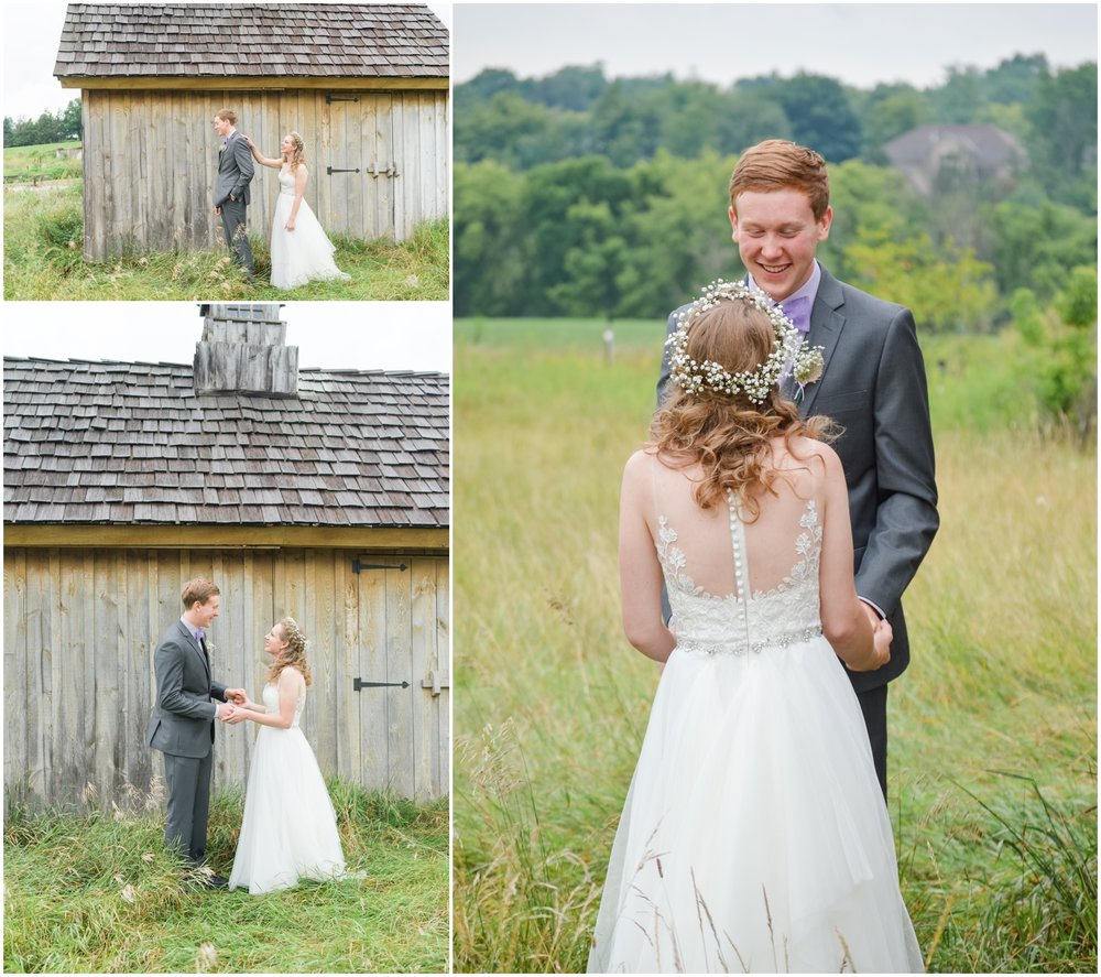 bride and groom's first look at The Outpost Center