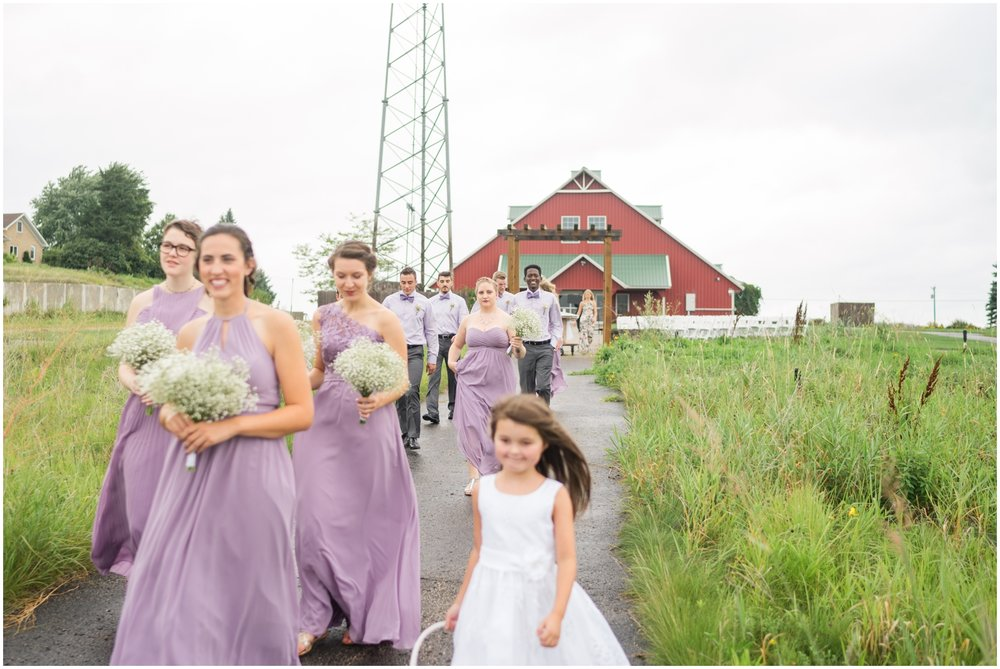 bridal party and flower girl
