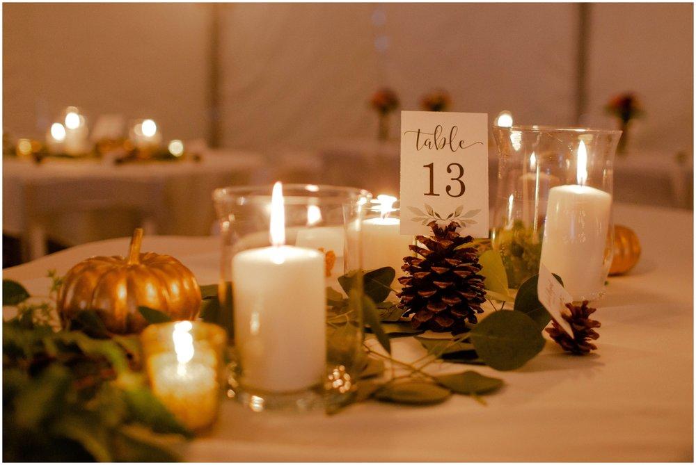 Fall themed wedding decor