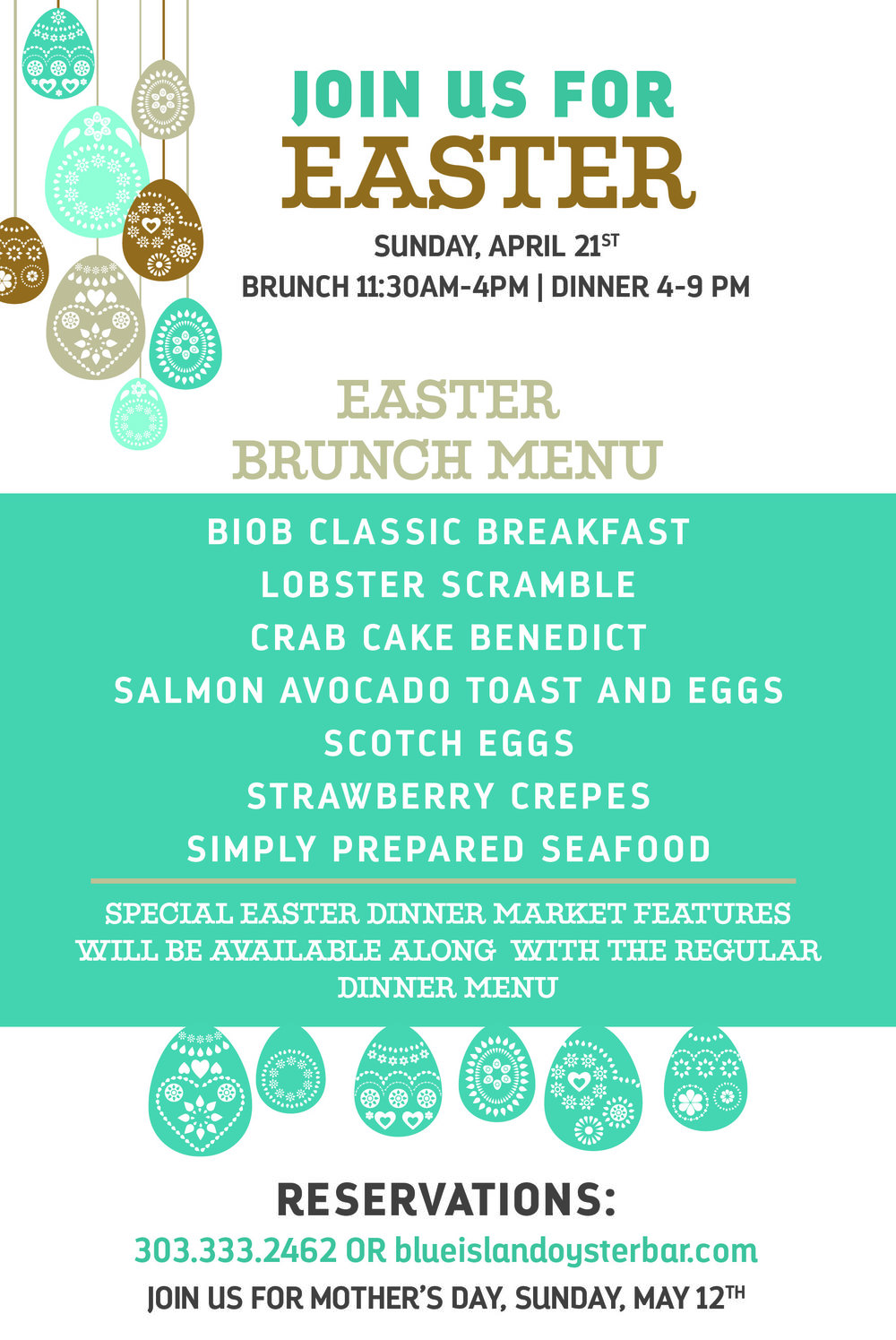 Join UsFor Easter Brunch - Make your reservations now for Easter Brunch or Dinner! Open at 11:30am - call 303-333-2462 or click below: